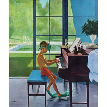 pink cabinet poolside piano practice by george hughes painting print on 24747