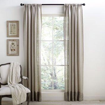 Birch Lane Alexi Linen Banded Curtain Birch Lane
