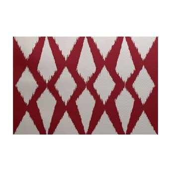 Geometric Decorative Red Outdoor Area Rug