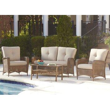Three Posts Marathon Conversation 4 Piece Seating Group with Cushion