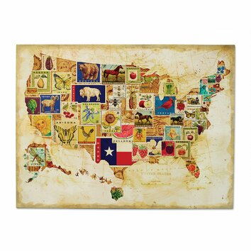 demdaco american backroads us map wall art reviews wayfair. Black Bedroom Furniture Sets. Home Design Ideas