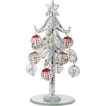 Ls arts inc. glass christmas tree with ornaments xm 942