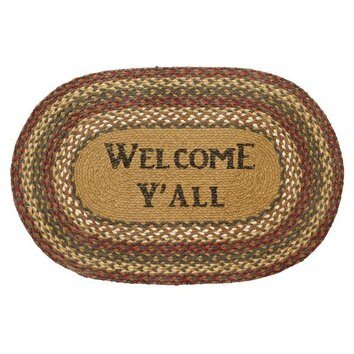 VHC Brands Tea Cabin Stencil Welcome Y'all Area Rug