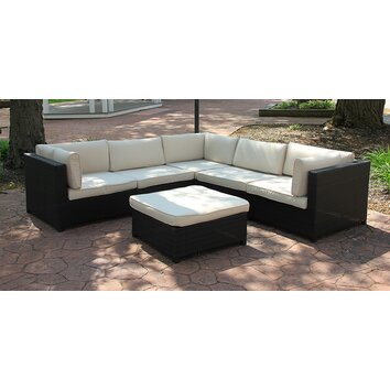 Outdoor furniture sectional sofa set with cushions wayfair for Outdoor furniture wayfair