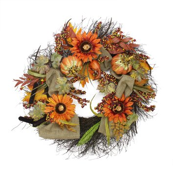 NorthlightSeasonal Harvest Sunflower and Pumpkin Unlit Artificial Thanksgiving Wreath