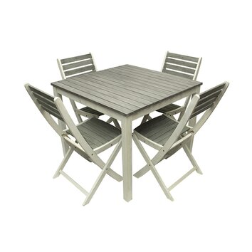 5 Piece Acacia Wood Outdoor Patio Dining Table and Chair