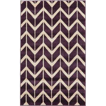 Unique Loom Chevron Purple Area Rug