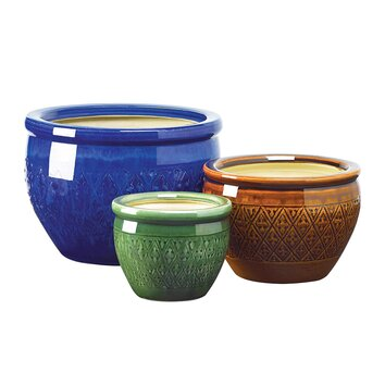 Stendhal 3 piece round pot planter set bngl1555
