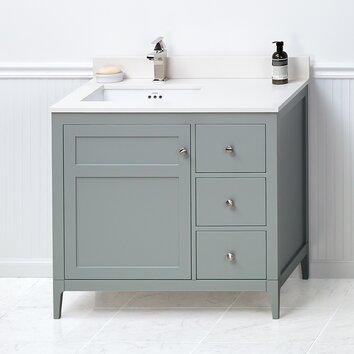 briella 36 bathroom vanity cabinet base in ocean gray wayfair