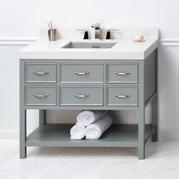newcastle 42 quot  bathroom vanity cabinet base in ocean gray 42 Bathroom Vanities On Sale Bathroom Tower Cabinet