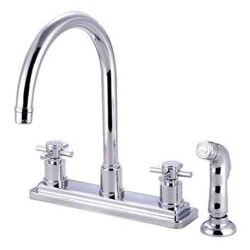 Elements Of Design South Beach Double Cross Handle Kitchen Faucet With Non Metallic Sprayer