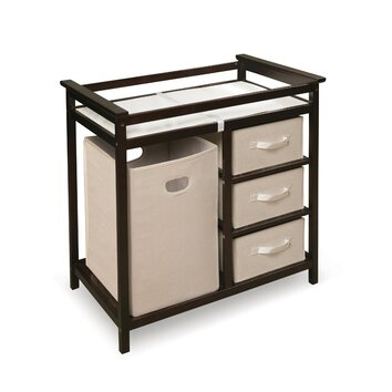 Badger Basket Modern Baby Changing Table With 3 Baskets