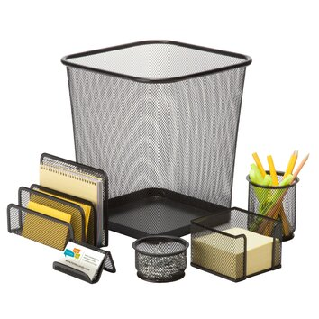 6 piece steel mesh desk organizer set ofc - Desk organizer sets ...