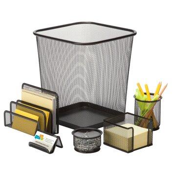 6 piece steel mesh desk organizer set ofc - Desk organizer sets ...
