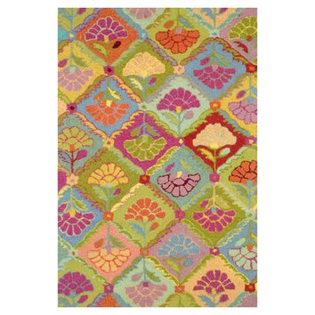 Dash and albert rugs hooked field of flowers area rug for Dash and albert wool rugs