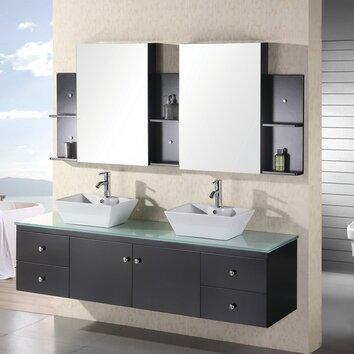 Design Element Portland 72 Floating Double Bathroom Vanity Set With Mirror Reviews Wayfair