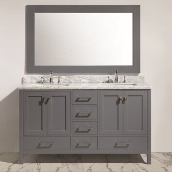 London 60 double sink vanity set with mirror dec082a g