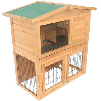 Aosom pawhut 40 wooden rabbit hutch small animal house for Aosom llc outsunny chaise lounge