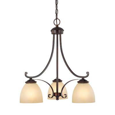Chapman 3 Light Chandelier with Tumbleweed Glass Shade Product Photo