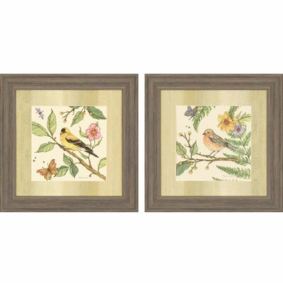 Flora and Fauna II 2 Piece Framed Painting Print Set by Paragon
