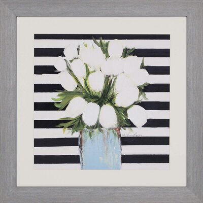 White Tulips Framed Painting Print by Paragon