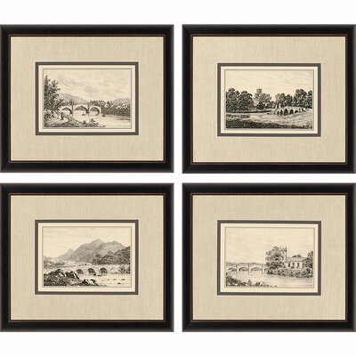 Idyllic Bridges by Wood 4 Piece Framed Painting Print Set by Paragon