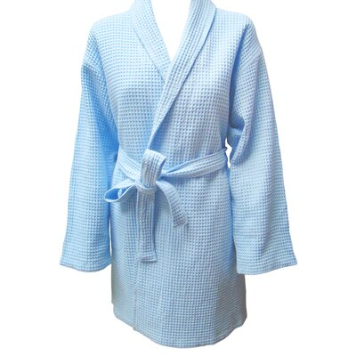 Textiles Plus Inc. Checked Waffel Weave Bathrobe