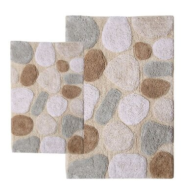 Chesapeake Merchandising Inc. Pebbles 2 Piece Contemporary Bath Rug Set
