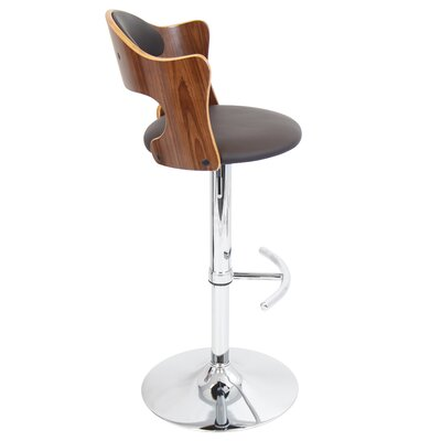 LumiSource Cello Adjustable Height Swivel Bar Stool with Cushion