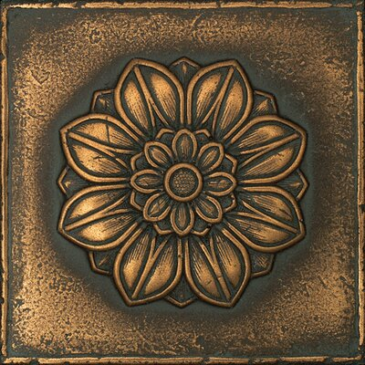 """Daltile Metal Signatures Rosette Pointed 6"""" x 6"""" Decorative Tile in Aged Bronze"""