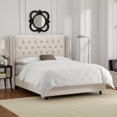 Tufted Upholstered Wingback Panel Bed by Skyline Furniture