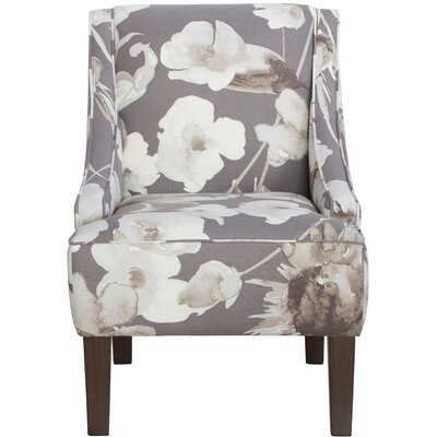 Swoop Cotton Upholstered Arm Chair in Grey & White by Skyline Furniture
