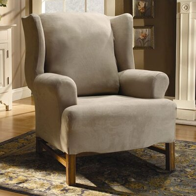 Sure-Fit Stretch Suede Wing Chair Slipcover
