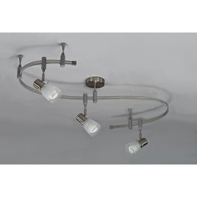 3 Light Flexible Glass Head Track Lighting Product Photo
