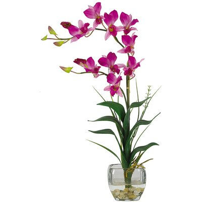 Nearly Natural Silk Dendobrium Flowers with Glass Vase in Purple