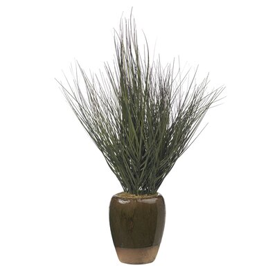 Nearly Natural Potted Silk Grass in Round Decorative Vase
