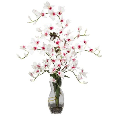 Nearly Natural Dendrobium with Vase Silk Floral Arrangements in White