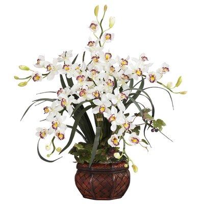 Nearly Natural Silk Cymbidium in White with Decorative Vase