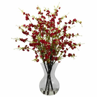 Nearly Natural Cherry Blossoms Arrangement with Vase