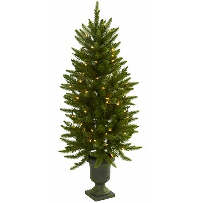 Nearly Natural Nearly Natural 4' Green Artificial Christmas Tree with 100 Clear Light with Urn