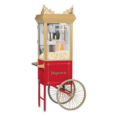 Bass 6 oz Antique Popcorn Machine w/ Cart