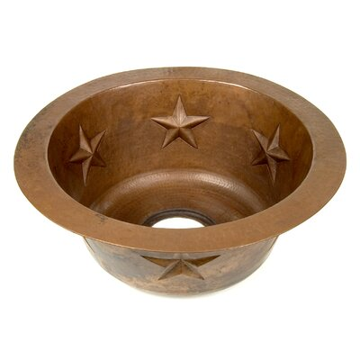 "Copper 16"" x 16"" x 7"" Round Texas Star Embossed Bar Sink Product Photo"