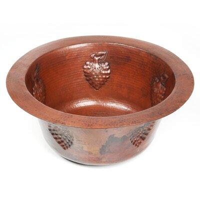 """Copper 16"""" x 16"""" x 7"""" Round Bar Sink with Grape Relief Product Photo"""