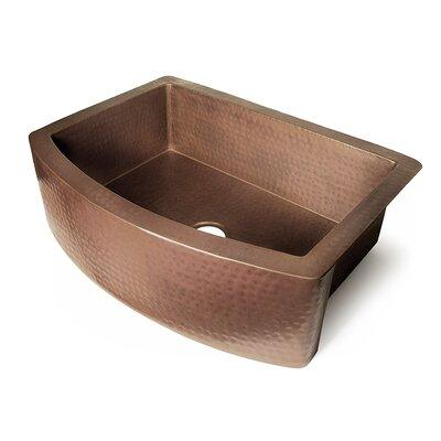 """D'Vontz Copper 33"""" x 22"""" Single Bowl Curved Front Farmhouse Kitchen Sink"""