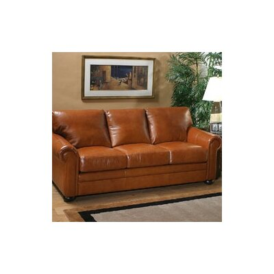 Omnia Furniture Georgia Full Leather Sleeper Sofa & Reviews