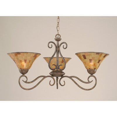 Olde Iron 3 Light  Chandelier with Pen Shell Shade Product Photo