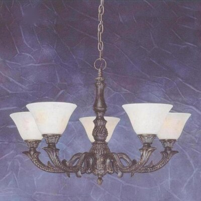 Toltec Lighting Olde Manor 5 Light  Chandelier with Marble Glass