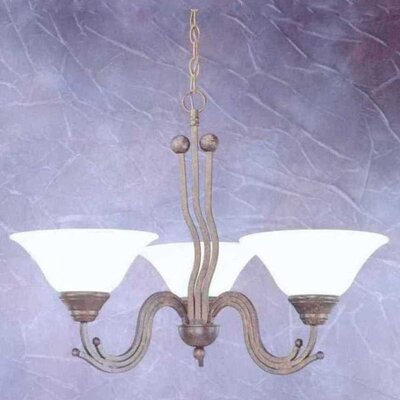 Toltec Lighting Wave 3 Light  Chandelier with Marble Glass Shade
