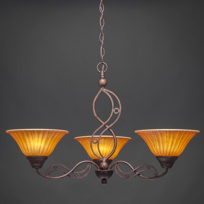 Jazz 3 Up Light Chandelier with Glass Shade by Toltec Lighting