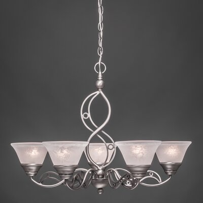 Jazz 5 Light Up Chandelier with Marble Glass Shade by Toltec Lighting